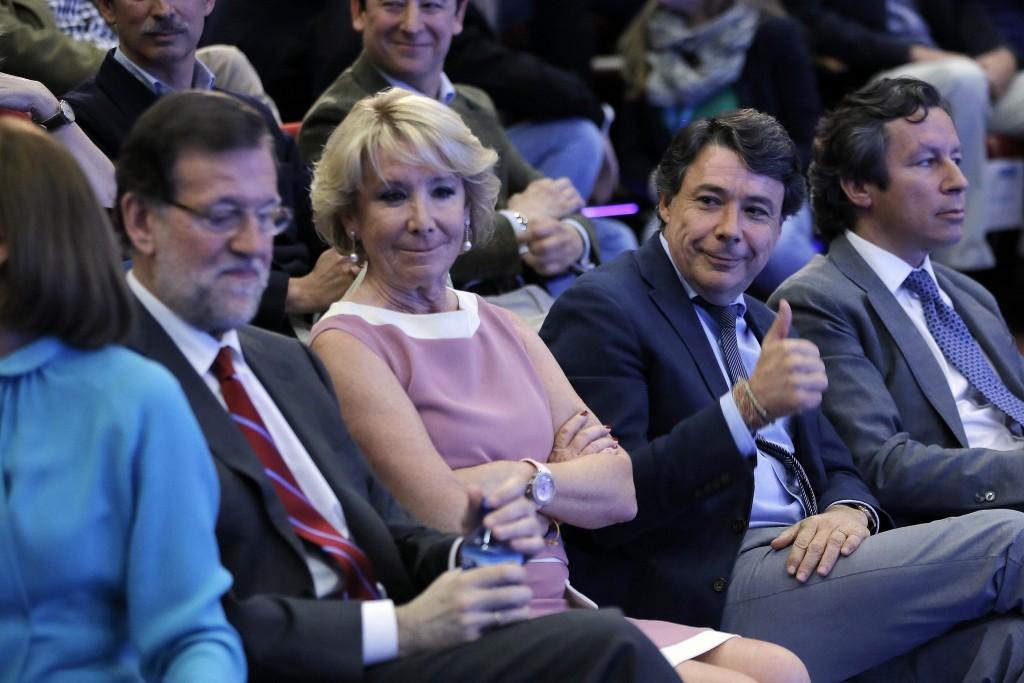 Rajoy Esperanza Aguirre Ignacio Gonzalez Floriano 2014 en Cierre de Campaña Madrid