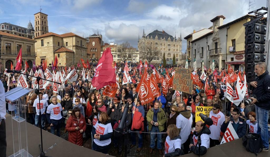 CCOO- MANIFESTACION historica en Leon contra despoblacion 16-2-2020