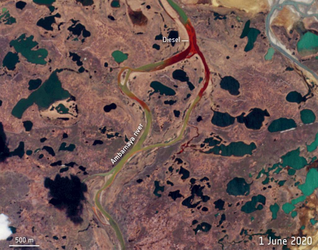 Imagen de la ESA del  vertido diesel en Artico ruso