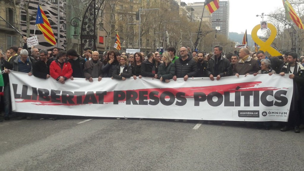 Manifestación tras la detención de Puigdemont. ERC