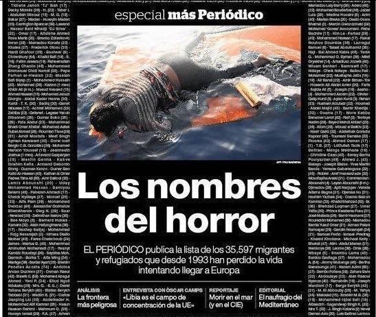 Portada El Periodico Nombres del horror