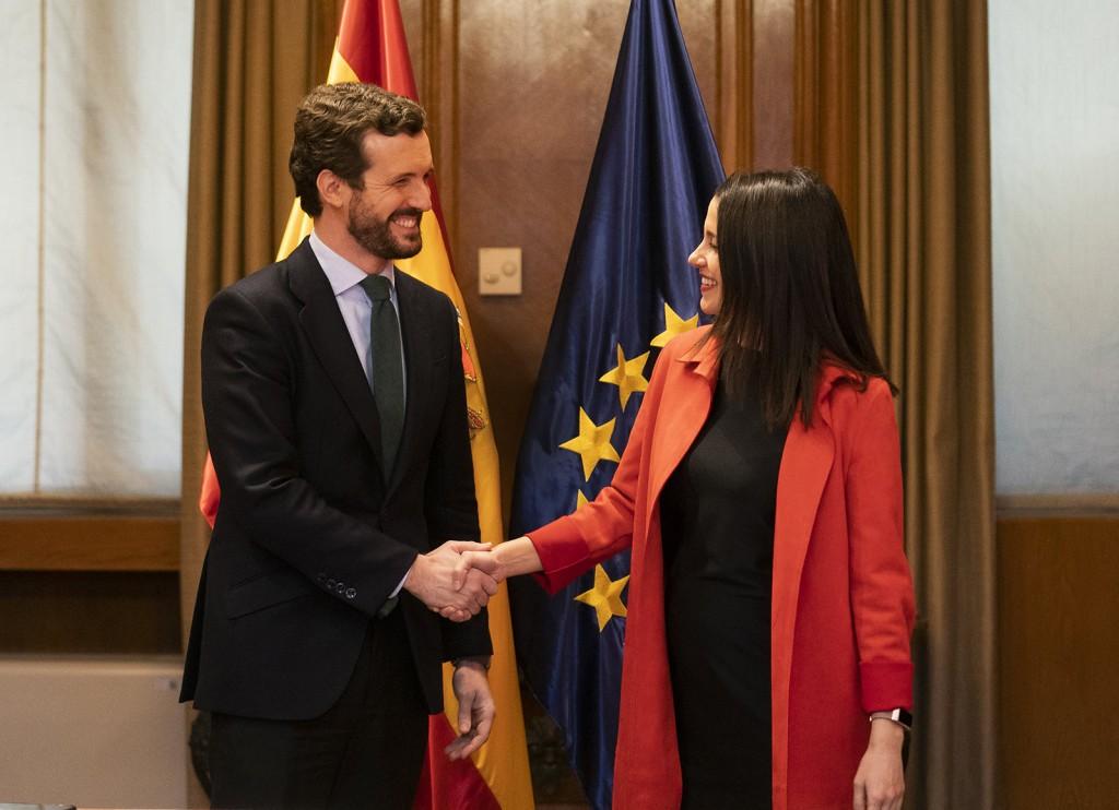 Reunión de Pablo Casado e Inés Arrimadas 18 de febrero de 2020