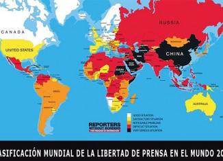 mapa,ranking,libertad,prensa.,rsf