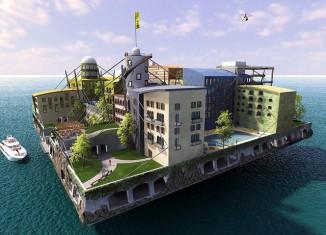 isla,flotante,seasteading,concepto,diiseño,flotante,autonoma
