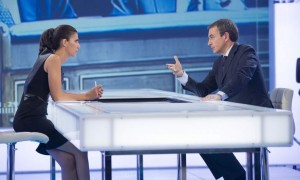 El expresidente Zapatero durante su entrevista con Ana Pastor en El Objetivo (foto: La Sexta)